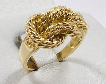 NEW Solid 14K Yellow Gold Love Knot Rope Ring Band 11mm, Sizes 5 - 12