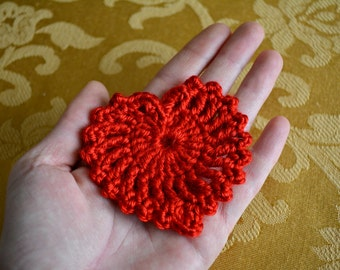 Red Crochet Heart, Red Whimsical Heart, Valentine's Day Heart, Ornament, Decoration