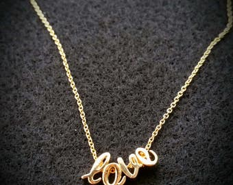 Gold necklace, gold chain necklace, initial necklace, cursive necklace, love necklace, charm necklace,initial charm necklace