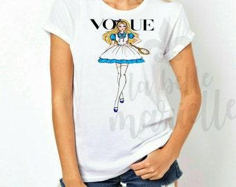 Custom Women's Disney Vogue Alice in Wonderland Shirt - Disney Vogue T-shirt