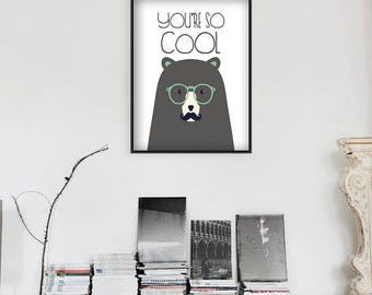 Bear printable Scandinavian art print Minimalist poster Wall art decor Black and white Modern Simple art Hipster Poster INSTAN Quote print