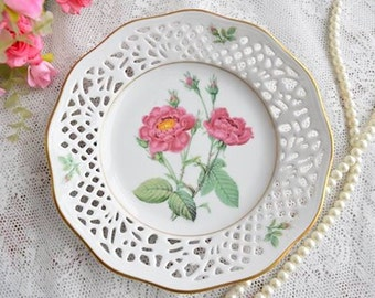 Vintage plate perfored porcelain plate Schumann Arzberg Bavaria Germany No. 6 rose with 22 carat gold edge plate german openwork porcelain