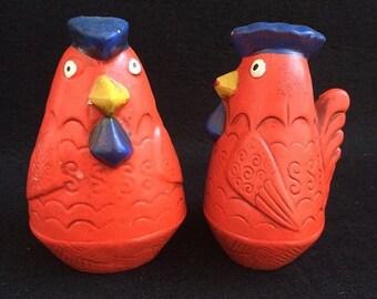 Vintage Royal Sealy Japan Red Rooster Shakers Salt Pepper