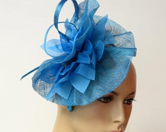 Blue sinamay Fascinator, Kate Middleton Style Fascinator, Kentucky Derby Fascinator, English Royal Hat, Wedding Hat,Formal ,Dressy,Church