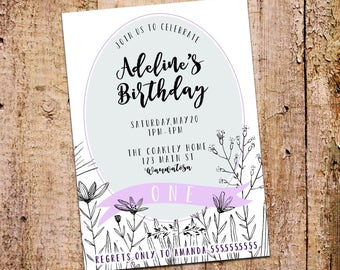 5x7 Floral Meadow + Banner Birthday Party Invitation Printable