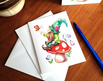 """NEW! Woodland Gnome Note Cards - Set of 6 - Blank Inside - A2 sized - 4.25"""" x 5.5""""  folded size"""