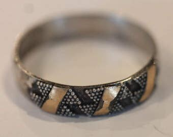 Vintage sterling silver gold dotted band ring size 7.75
