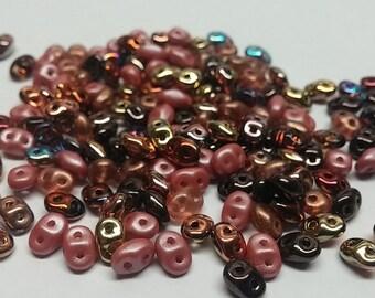 SuperDuo Copper Canyon Mix, 2.5x5mm Czech glass, DU05MIX170, 10 grams
