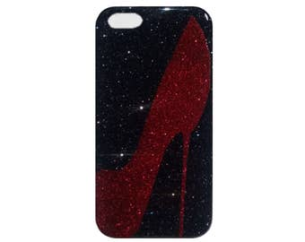 iPhone, Case 6s Plus SE 5 Stiletto High Heel Red Black Diva Glitter Durable Shock Absorbent Case with Removable Bumper