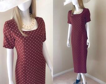 80's POLKA DOT Column Dress, Kentucky Derby Dress, Garden Party Dress, Spring Summer Midi Length Dress, Rust Brown Dress-Size 8