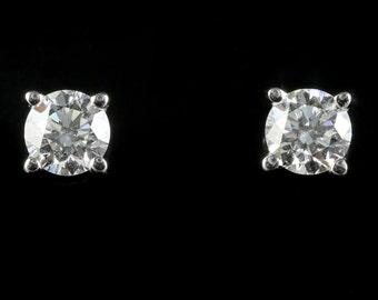 Antique Victorian Diamond Stud Earrings 18ct White Gold