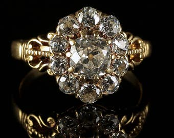 Antique Victorian Diamond Ring 2ct Diamond Cluster Ring Circa 1880