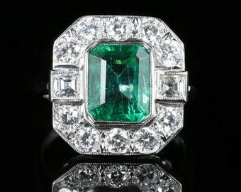 Antique Emerald Diamond Ring 18ct Gold 3.80ct Emerald 2ct Diamond