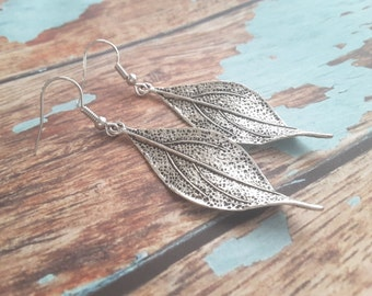Textured Long Silver Leaves . Earrings