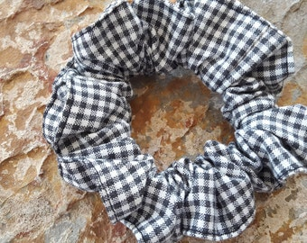Handmade,black and white, large, check, cotton blend, large scrunchie/hair/pony tie,pony/bun/ thick hair/braids/ hair extension/rasta holder