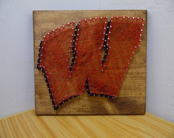 Wisconsin badgers string art, Badgers String Art, Wisconsin String Art, College Football String Art, Badgers Football String Art, String Art