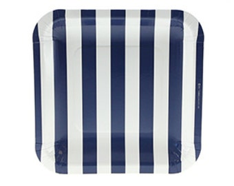 """Plates   Navy Candy Stripe Party Plates 7.25""""   Navy and White Stripes   Paper Plates   Premium Quality Plates    The Party Darling"""