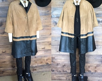 Vintage Suede and Leather Swing Coat
