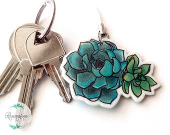 Succulent keychain, Plant charm, Blue Phone charm, Cute keychain, Notebook, Planner accessories