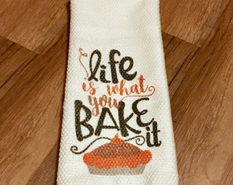 Microfiber Kitchen Towel Life is what you bake it humor funny tea towel baking chef