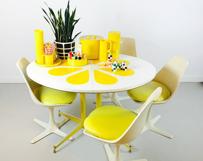 SOLD Retro Tulip Table and Chairs Flower Design by Maurice Burke Saarinen Style