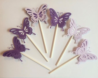 Butterfly Cupcake toppers, Set of 12 Butterfly Themed Cupcake Toppers, Butterfly Baby Shower Decorations, Butterfly Party Decorations