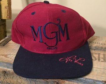 MGM Grand Las Vegas hat // vintage vegas snapback hat // NOS // rare cap // casino // two tone // 90s