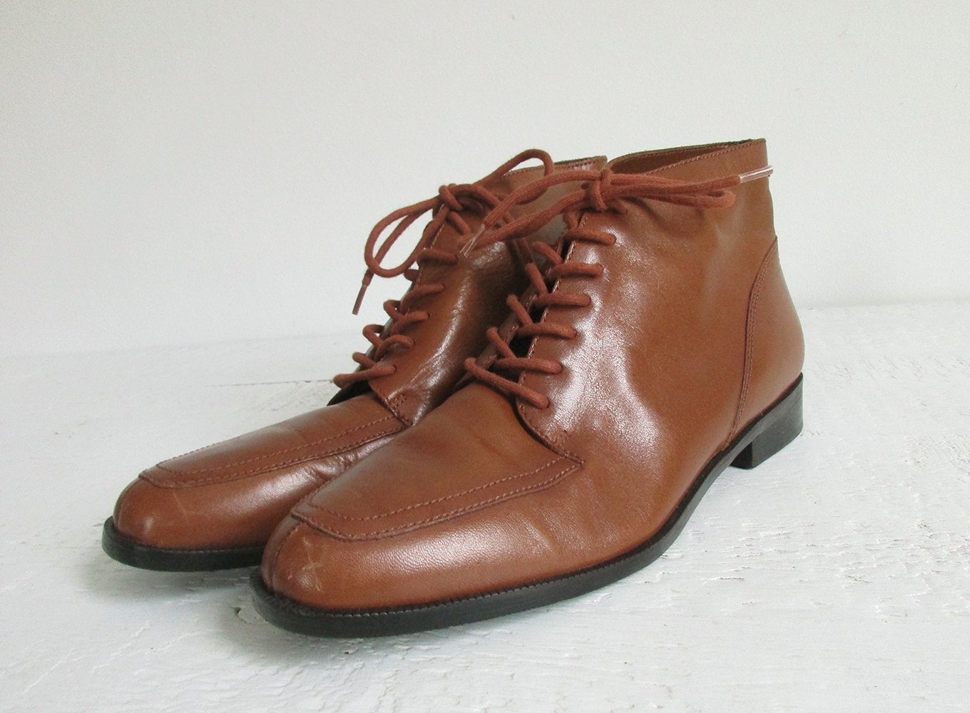vintage cognac brown leather ankle boots, 90s low heel lace up ...