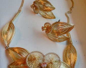 Vintage Rhinestone and Gold Tone German Filigree Wire Necklace and Earring Set