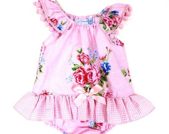 Pink Baby Girl Clothes,  Toddler clothes, Pink Vintage Style Romper, Frilled Romper  Size 3 - 6mths and   12-18 mths Ready to ship