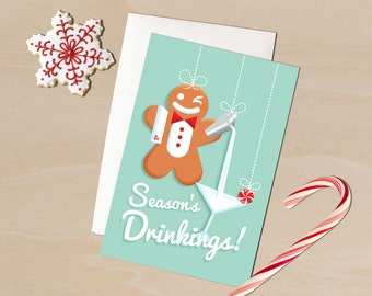 "Retro Christmas Card- 1950's-Style Gingerbread Man Bartender 4 by 6 Inch Christmas/Holiday Card ""Season's Drinkings!"""