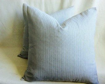 Basket Weave Designer Pillow Covers - Blue/ White - 2pc Set - 18x18 Covers