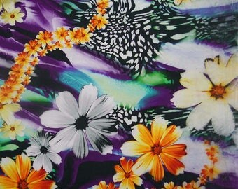 "Ethnic Fabric, Floral Print, Multicolor Fabric, Dressmaking Fabric, Indian Decor, 42"" Inch Cotton Fabric By The Yard ZBC7792A"