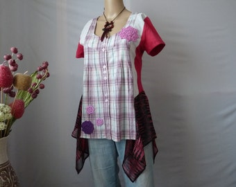 Upcycled clothing for women shabby chic clothing plus size bohemian tunic top hippie boho clothing gypsy upcycled boho tunic bohemian womens