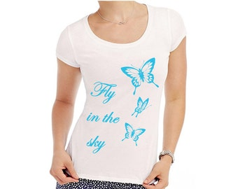 Womens T-Shirt with print graphic tee with butterflies Crew Neck T-Shirt butterfly t-shirt butterfly print S M L XL white or black with blue