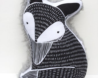 Whimsy Fox Pillow / Plushie-Cotton + Choice of Backing-Minky Dot or Faux Fur-Woodland Pillow-Monochrome Nursery