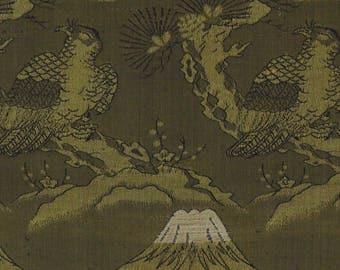 Japanese obi fabric, kimono textile, remnant, fujisan, hawk /1387