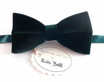 Green Velvet Bow Tie, Man Bow Tie