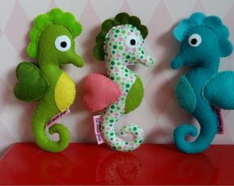handsewn felt seahorse rattle