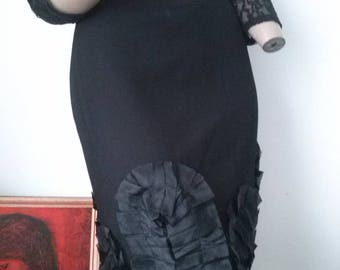 90s Vintage Review black pencil skirt with ruched organza trimmings size 12