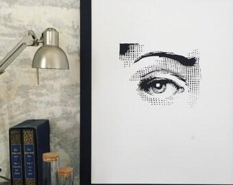 Eye artwork, eye art print, eye etching, fornasetti style eye, vintage eye, victorian eye, womans eye, fornasetti eye, female eye, modern