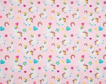 Baby Unicorns and Rainbows on Pink Cotton Lycra Jersey Knit Fabric