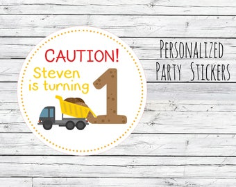 12 or 20 or 35 Personalized Caution Turning Construction Dump Truck, Yellow Truck, Birthday Party Favor, Thank You Tags, Stickers