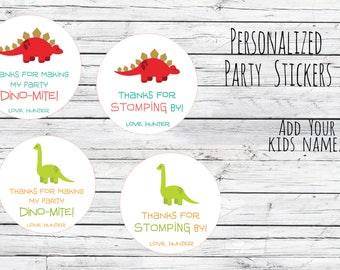 Personalized Dino-Mite Stomping By Party Favor Labels, First Birthday,Party, Dinosaur Stickers, Dinosaur Theme, Stomping By Choice of Size