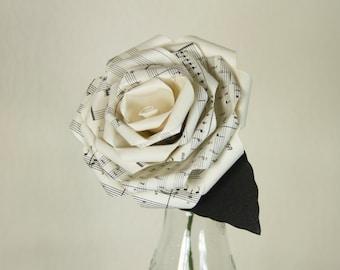 2 handmade sheet music paper flowers large origami custom for Paper roses sheet music free
