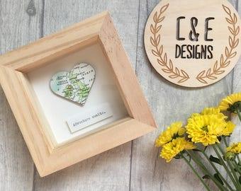 UK Map // Adventure Awaits // Wedding Anniversary Gift // Paper Heart 'Adventure Awaits' in frame // Wedding Gift // 1st Anniversary Gift