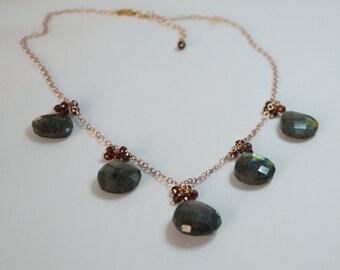 To The Fives Necklace, Labradorite Briolette and Garnet Rondelles Necklace, 24 K Vermeil Wire,Large Teardrop