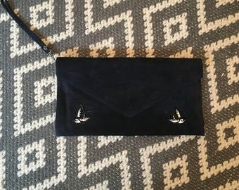 Navy Clutch Bag with Swallow Embellishments