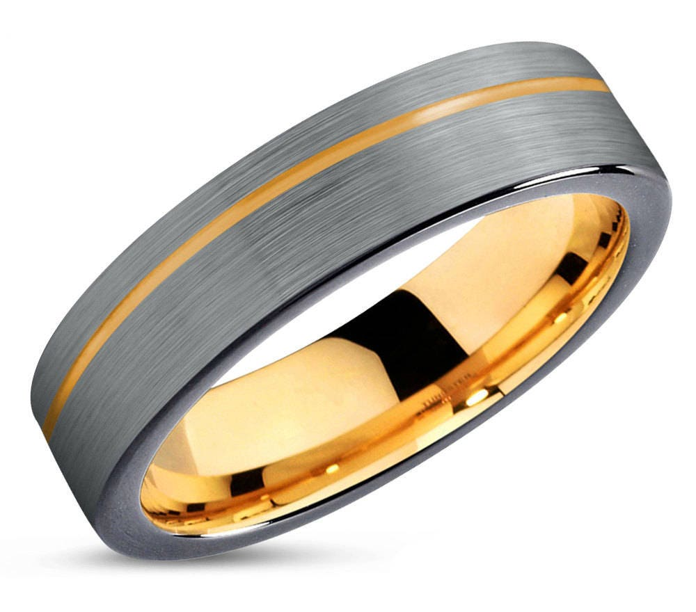 mens wedding band wedding ring yellow gold 18k tungsten. Black Bedroom Furniture Sets. Home Design Ideas