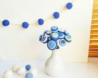 little blue button bouquet